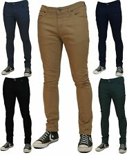 NEW MENS SKINNY STRETCH JEANS Slim Fit Twill Coloured Jeans Pants Chino Trousers