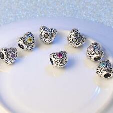 925 Sterling Silver CZ Hollow Heart Charm Beads for European Bracelet Chain 45WF