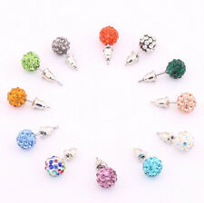 10 mm Austria Crystal Charming Pave Disco Clay Ball Beads Ear Stud Earrings Gift