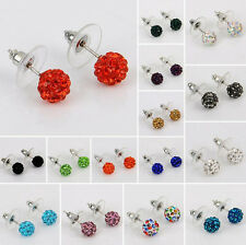 Multicolor Disco Balls/Beads Crystal Rhinestone Bling Ear Stud Earring 10mm Gift