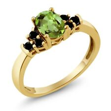 0.76 Ct Oval Green Peridot Black Diamond 18K Yellow Gold Plated Silver Ring