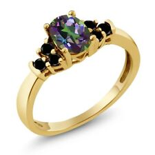 0.76 Ct Oval Green Mystic Topaz Black Diamond 18K Yellow Gold Plated Silver Ring