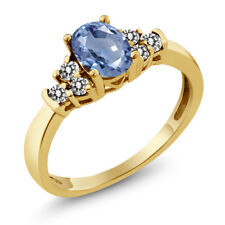 0.81 Ct Oval Blue Sapphire White Diamond 18K Yellow Gold Plated Silver Ring