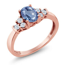 0.87 Ct Oval Blue Sapphire White Topaz 18K Rose Gold Plated Silver Ring