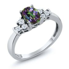 0.82 Ct Oval Green Mystic Topaz White Topaz 925 Sterling Silver Ring