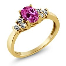 0.76 Ct Oval Pink Created Sapphire White Diamond 18K Yellow Gold Ring