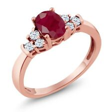 0.92 Ct Oval Red Ruby White Topaz 18K Rose Gold Plated Silver Ring