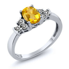 0.66 Ct Oval Yellow Citrine White Diamond 18K White Gold Ring