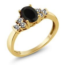 0.65 Ct Oval Black Onyx White Diamond 18K Yellow Gold Plated Silver Ring