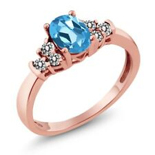 0.76 Ct Oval Swiss Blue Topaz White Diamond 18K Rose Gold Plated Silver Ring