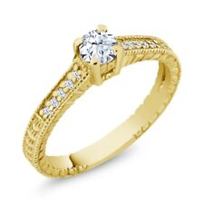 0.45 Ct Round White Topaz Created Sapphire 18K Yellow Gold Plated Silver Ring