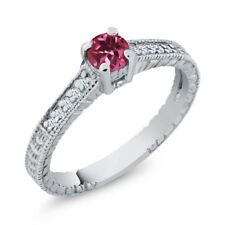 0.36 Ct Round Pink Tourmaline White Created Sapphire 14K White Gold Ring