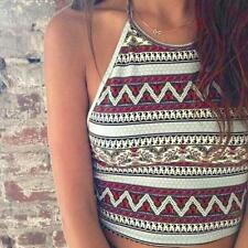 Sexy Women Tank Tops Summer Beach Boho Bustier Bra Vest Crop Tops Shirt Blouse