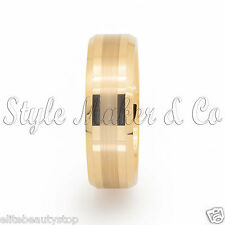 Tungsten Carbide Ring Men's Wedding Band Gold Brushed Size 7-13