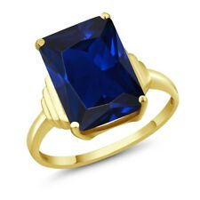 1Octagon Blue Simulated Sapphire 18K Yellow Gold Plated Silver Ring
