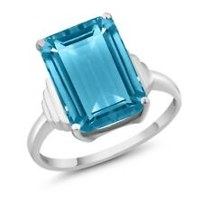 7.00 Ct Octagon Swiss Blue Topaz 925 Sterling Silver Ring