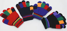 Childrens Multi Stripe Magic Gloves Girls Boys Stretchy Knitted Winter Warm 4Col