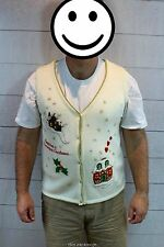Ugly Christmas Sweater Vest Mens Tacky Party Winner Gingerbead House Bling