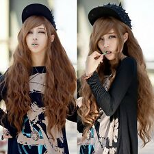 New Brown Long Corn-Hot Hair Curly Wavy Full Wigs/Wig Cosplay Costume/Daily Wear