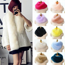Women Winter Faux Fox Rabbit Fur Neck Long Scarf Collar Shawl Wrap Scarves Stole