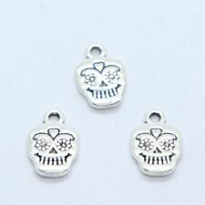 8/40/300pcs Tibetan Silver Skull Head Charms Crafts Pendants Jewelry 11x17mm
