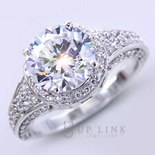 UP LINK 7.82CT Round Cut White Cubic Zirconia 925 Sterling Silver Luxury Ring