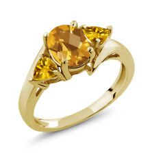 1.65 Ct Oval Checkerboard Yellow Citrine 18K Yellow Gold Plated Silver Ring