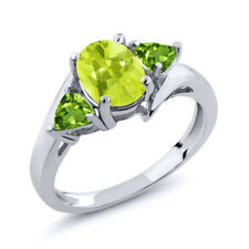 1.62 Ct Oval Yellow Lemon Quartz Green Peridot 18K White Gold Ring