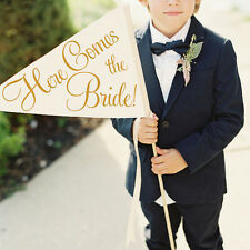 Here Comes The Bride Wedding Sign Handmade Large Flower Girl Ring Bearer Banner