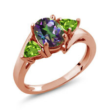 1.82 Ct Oval Green Mystic Topaz Green Peridot 18K Rose Gold Plated Silver Ring