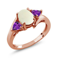 1.47 Ct Oval Cabochon White Simulated Opal Purple Amethyst 18K Rose Gold Ring