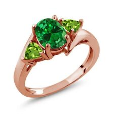 2.62 Ct Green Simulated Emerald Green Peridot 18K Rose Gold Plated Silver Ring