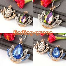 1pc Golden Crystal Rhinestone Crown Gemstone Charms Pendant Dangle Fit Necklace