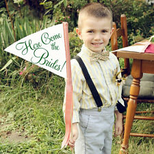 """Gay Wedding Sign """"Here Come The Brides"""" Small Flower Girl Ring Bearer Banner"""