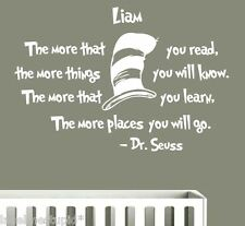 Dr Seuss Quote Cat in the Hat plus Custom Name Wall Stickers Kids Book