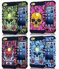 For iPod Touch 5th 6th Gen - Hard&Soft Rubber Hybrid Armor Skin Case Camo Skull