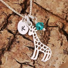 925 Sterling Silver Personalised Filigree Giraffe Pendant Necklace & Birthstone