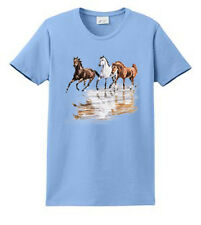 Three Horses Printed Tee Ladies S M L XL and Plus Size Port & Co. Short Sleeve