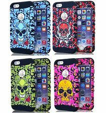 for iPhone 6+ / 6S+ Plus - Hard&Soft Rubber Hybrid Armor Skin Case CAMO SKULL