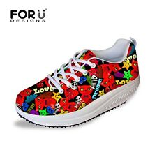 New Casual Womens Ladies Wedge Platform Flat Classic Mesh Fashion Sneakers Shoes