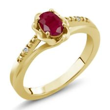 0.62 Ct Oval Red Ruby White Sapphire 18K Yellow Gold Ring