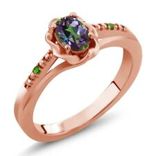 0.51 Ct Green Mystic Topaz Simulated Tsavorite 18K Rose Gold Plated Silver Ring