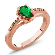 0.41 Ct Simulated Emerald Simulated Tsavorite 18K Rose Gold Plated Silver Ring