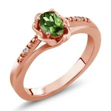 0.52 Ct Oval Green Tourmaline White Sapphire 18K Rose Gold Ring