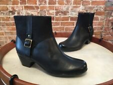 Clarks Black Leather Ingalls Dover Buckle Ankle Boots NEW