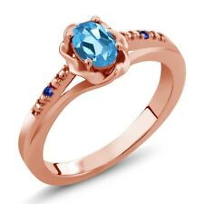 0.52 Ct Oval Swiss Blue Topaz Blue Sapphire 18K Rose Gold Plated Silver Ring