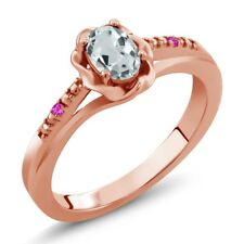 0.45 Ct Oval Sky Blue Aquamarine Pink Sapphire 18K Rose Gold Plated Silver Ring