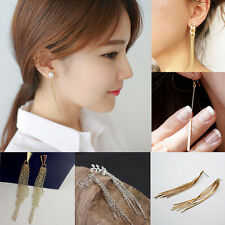 Womens Girls Popular Fashion Tassels Rhinestone Earrings Ear Stud Gold & Silver