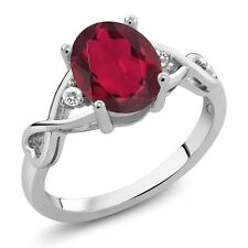 1.84 Ct Oval Red Mystic Quartz White Sapphire 925 Sterling Silver Ring