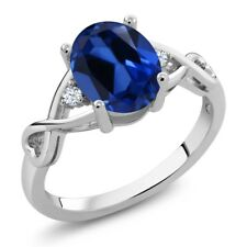 2.35 Ct Oval Blue Simulated Sapphire White Topaz 925 Sterling Silver Ring